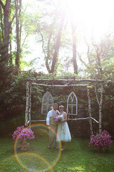 DIY altar with vintage church windows;; Gypsy Tree Photography
