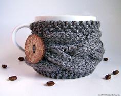 Grey Coffee Sleeve, Coffee Cup Cozies, Tea Cup Cozy, Coffee Cup Cozy, Coffee Mug Cozies, Knit Mug Cozy, Coffee Cup Sleeve Gray