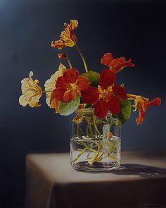 """Nasturtium in a vase"" By Tjalf Sparnaay, Dutch hyperrealist artist oil on canvas Art Floral, Tjalf Sparnaay, Hyper Realistic Paintings, Still Life Flowers, Dutch Artists, Still Life Art, Botanical Art, Flower Art, Watercolor Art"