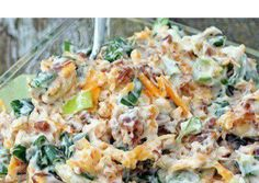 Million Dollar Dip 5 green onions, chopped 8 oz. low fat cheddar cheese, shredded 1- 1/2 cups light mayonnaise--You Can use greek yogurt instead  1 jar Hormel Real Bacon Bits  1 pkg. slivered almonds Mix the onions, cheese, mayo, bacon bits, and slivered almonds together. Chill for 2 hours. Serve with favorite cracker or celery (Great with celery) Don't just LIKE it, SHARE it so your friends see it! It also saves it in your Timeline Photo Album so it's stored for later! Just click on the…
