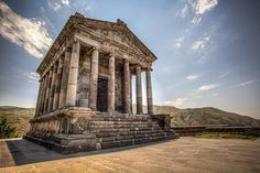 """First century Hellenic temple, the only pagan temple in Armenia that survived the Christianization of the country in the early century. It is also the only """"Greco-Roman colonnaded building"""" in Armenia and the entire former Soviet Armenian History, Armenian Culture, Art Romain, Armenia Travel, Ancient Mysteries, Ancient Ruins, Culture Travel, Pilgrimage, World Heritage Sites"""