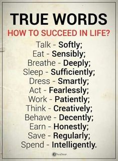 Success Quotes How to Succeed in Life True Words talk softly, eat sensibly, breathe deeply, sleep sufficiently, dress smartly Inspirational Quotes About Success, Meaningful Quotes, Success Quotes, Positive Quotes, Motivational Quotes, Positive Psychology, Wisdom Quotes, True Quotes, Words Quotes