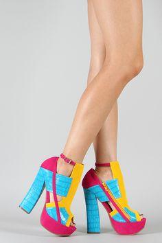 Caitlyn-08 Colorblock Croco Cut-Out Platform Sandal