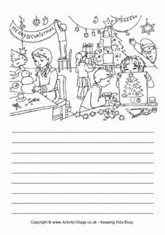Kids can use this lovely old-fashioned Christmas story paper with a picture of Santa Claus with his sleigh and reindeer to colour in for some imaginative writing at Christmas time! Descriptive Writing Activities, Creative Writing Worksheets, Creative Activities For Kids, Narrative Writing, Picture Comprehension, Reading Comprehension Worksheets, Imaginative Writing, Free Kids Coloring Pages, A Christmas Story