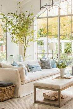 Belgian linen furniture in family room with interior design by Giannetti Home. #belgianlinen #livingroom #familyroom #serene #interiordesign #giannettihome
