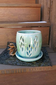 Easter Spring Orchid Planter Flower Pot by ShadyGrovePottery