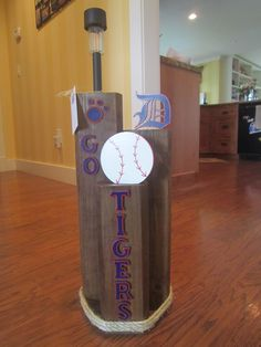 Sports Team Solar Light Stand - Made from Landscape Timbers.