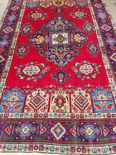 Vintage Hand knotted Oriental Wool Carpet Rug 7' x 10' #Persian