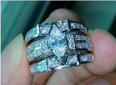 Victoria Wieck Dazzling Marquise Cut CZ 3 Piece Bridal Ring Set SZ 6/7 /8/9/10. Starting at $1