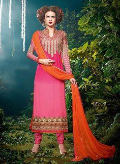 Captivating Georgette Hot Pink Designer Straight Salwar Kameez