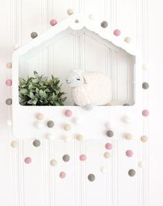 Pom Pom Garland- Pink Felt Ball Garland- Sweet Pea Pink Nursery Decor- Pink Girl…