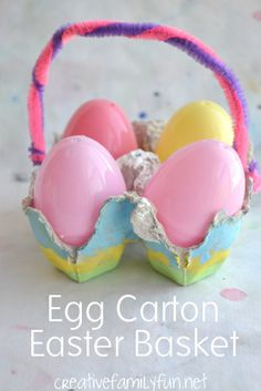 Egg Carton Easter Basket - a simple kids craft for Easter.