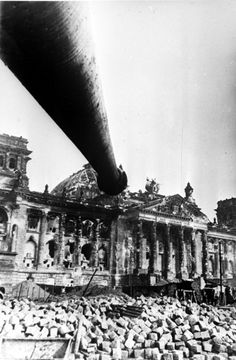 Tank Barrel Pointed at the Ruined Reichstag Building, 1945