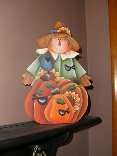 FaLL SCARECROW in the PuMpKiN Patch HoLiDaY Shelfsitter, HoMe DeCoR, HaLLoWeen, ThAnKsGiViNg. $21.00, via Etsy.