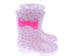 #Billie Blush# Junior Girls Pink Spot Rain Boots With Branded Bow Print £ 27.00