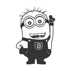 DIY Minion Vinyl Decal Despicable Me Cartoon Character Tom Minions, My Minion, Stencils, Stencil Art, Vinyl Crafts, Vinyl Projects, Minion Stencil, Minion Template, Minion Clipart