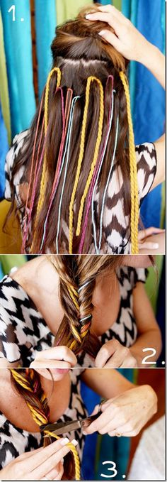 this is so cool! stick different colors in your hair and braid them together in a fishtail braid!