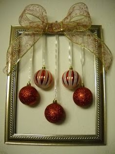 DIY ~ easy and inexpensive ~ picture frame and hang a few ornaments