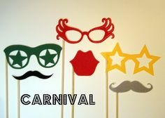 Photo booth props Carnival mustache glasses on a par KittyDuneCuts, $12.00