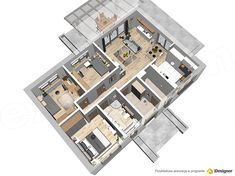 Projekt domu Terrier 2 bez garażu 93,3 m2 - koszt budowy - EXTRADOM Bungalow House Plans, Small House Design, Plants, Home, Design For Small House, Small Home Design