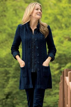 As seen in the September 1st issue of #WomansWorld, our longtime favorite Cable-Knit Sweater Coat - Available in 5 colors in Misses, Petites, and Women's Sizes | Chadwicks of Boston