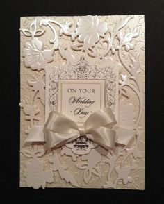 anna griffin card images | Fancy Wedding Card with Floral Ivory Pearlescent Anna Griffin Papers
