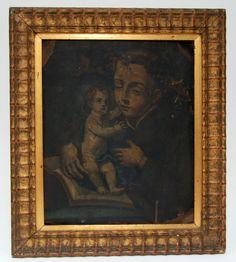 Pintura em óleo sobre chapa de cobre. Séc. XVIII/XIX. 20 cm x 24 cm de altura.