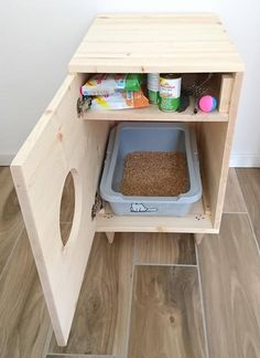 Cat Litter Box Cover Pet Furniture Cat House Modern Litter Box Cabinet made of spruce wood Katze Wurf Box Cover Haustier Möbel Katzenhaus moderne Wurf