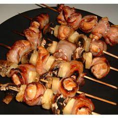 Chicken and Bacon Shish Kabobs Allrecipes.com.  Best kabobs I've ever made!