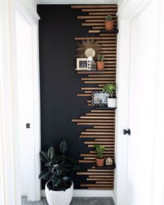 Accent Walls In Living Room, Home Living Room, Living Room Decor, Wood Accent Walls, Accent Wall Bedroom, Home Room Design, Home Interior Design, House Design, Wood Slat Wall