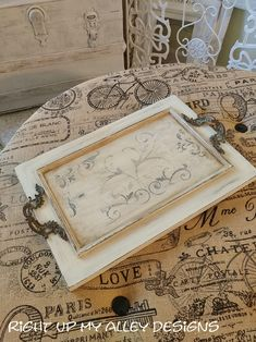 Decorative tray,French themed tray,french stenciled serving tray,serving tray,antique drawer pulls.repurposed cabinet door,Annie Sloan paint by RightUpMyAlleyDesign on Etsy