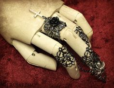 Gunmetal Visual Kei Claw Ring Set by Necrosarium