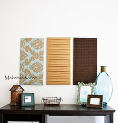 This is an easy project that is fairly inexpensive. I was thinking you could do this on a larger scale and use in a bedroom behind your bed instead of a head board? We don't have a headboard and I always feel as though the space above our bed is lacking.