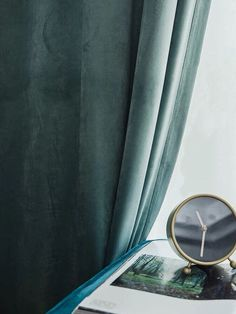 Sea Green Luxury Matt Velvet Curtains / Custom Made Curtain Panels / Rod Pocket Panels Boho Curtains, Green Curtains, Hanging Curtains, Curtain Fabric, Panel Curtains, Curtain Panels, Curtains Pictures, Velvet Drapes, Custom Made Curtains