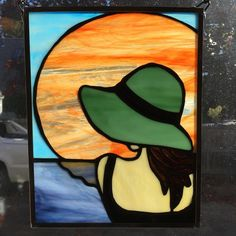 Lady at the beach stained glass window hanging Stained Glass Designs, Stained Glass Projects, Stained Glass Patterns, Stained Glass Art, Stained Glass Windows, Mosaic Glass, Window Art, Window Hanging, Acrylic Painting Lessons