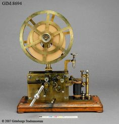 Telegrahic printer of Morse signals on a paper strip. Made by LM Ericsson, Sweden, ca 1900