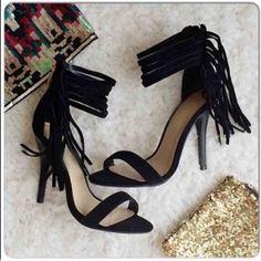 6.5 Or 7!Nib Black Ankle Fringe Heels