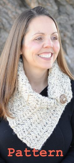 PDF Pattern  Chunky Cowl Scarf with Button Instant by NonniesKnots, $5.00