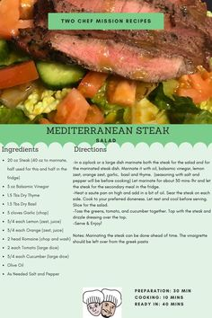 A great spring salad to enjoy with your family. Serving size of 10 Minute Meals, Steak Dishes, Meals For Four, Marinated Steak, Steak Salad, Spring Salad, Salad Ingredients, Spring Recipes, Serving Size