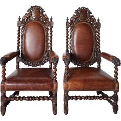 Pair French Louis XIII Style Oak and Leather Armchairs