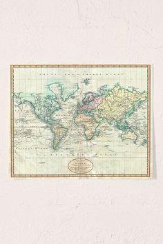 Slide View: 1: Adam Shaw Vintage World Map (1801) Art Print