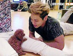 Jonghyun with Key's dog. This might be the cutest thing conceived by the Internet
