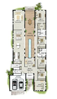 Simple Four Bedroom House Plans Contemporary House Designs And Floor Plans Contemporary Home Designs Modern Narrow Block House Designs Floor Plan Four Bedrooms Simple Design Contemporary House Design Layouts Casa, House Layouts, House Layout Plans, Block House, Shipping Container Home Designs, Shipping Containers, Casa Patio, Building A Container Home, Container Home Plans