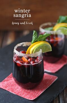 Celebrate with this delicious winter sangria recipe and add a sangria bar station at your next party. | honeyandbirch.com