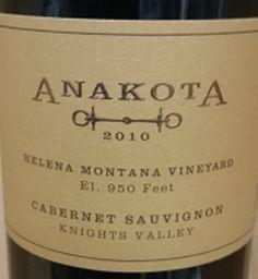 2010 Anakota Cabernet Sauvignon Helena Montana Vineyard