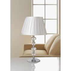 Georgia Glass Ball Table Lamp - Cream. Create some vintage glamour in your home with this stunning glass ball detailed table lamp. Size: 42cm (Approx.)