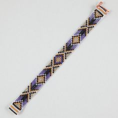 Purple & 24k Gold Arrows Bead Loom Bracelet от PuebloAndCo на Etsy