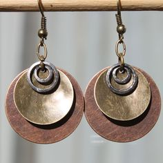 Hoop Mixed Metal - Hammered Copper Earrings - Antiqued Brass Earrings - Antiqued Silver Earrings - Rustic Earrings - Dangle earrings. $17.00, via Etsy.
