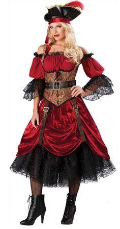 Uma clássica Fantasia Pirata feminina, com todos os acessórios para arrasar em sua Festa a Fantasia. Veja mais fantasias de Piratas ma Breshow