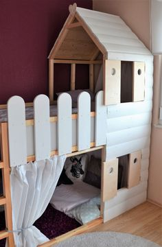 """Loft bed + play house = children's room dream- Hochbett + Spielhaus = Kinderzimmertraum Our big daughter recently decided that she was ready … She wants us to """"turn over"""" her bed. So far she slept in the low version of her KURA (from Ikea), … - Baby Boy Rooms, Baby Room, Kura Ikea, Dreams Beds, Decoration Bedroom, Kids Room Design, Bed Design, Kid Beds, Nursery Room"""